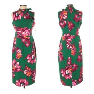 Maggy London High Neck Tie Floral Sheath Dress